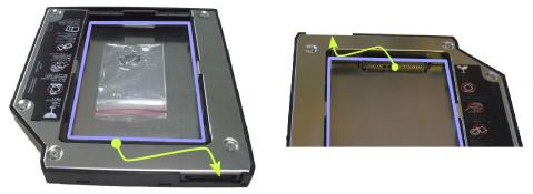 """Adapterrahmen (""""HDD Caddy"""") zum Einbau klassischer 2.5""""-SATA-Massenspeicher anstelle eines optischen Laufwerks in Notebooks. Blau: Aussparung für 2.5""""-Laufwerk. Grün: Weiterleitung des SATA-Ports."""